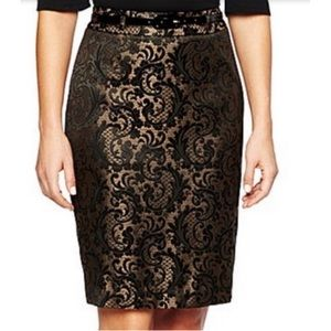 NWT Worthington Shiny Gold Jacquard Pencil Skirt